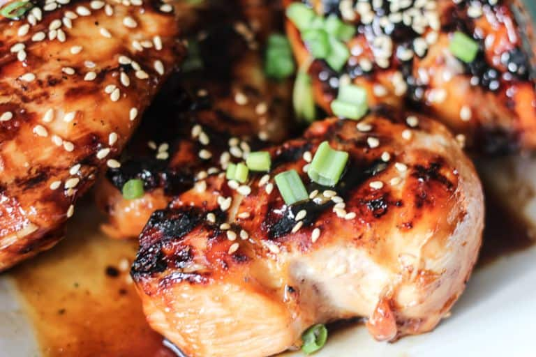 close up of grilled teriyaki chicken