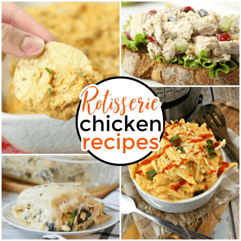 a collage of four different chicken dishes with title text reading Rotisserie Chicken Recipes