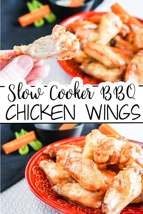 a collage of Slow Cooker BBQ Chicken Wings next to carrots and celery on a red plate with more carrots and celery in a black bowl next to a black cloth in the background with title text reading Slow Cooker BBQ Chicken Wings