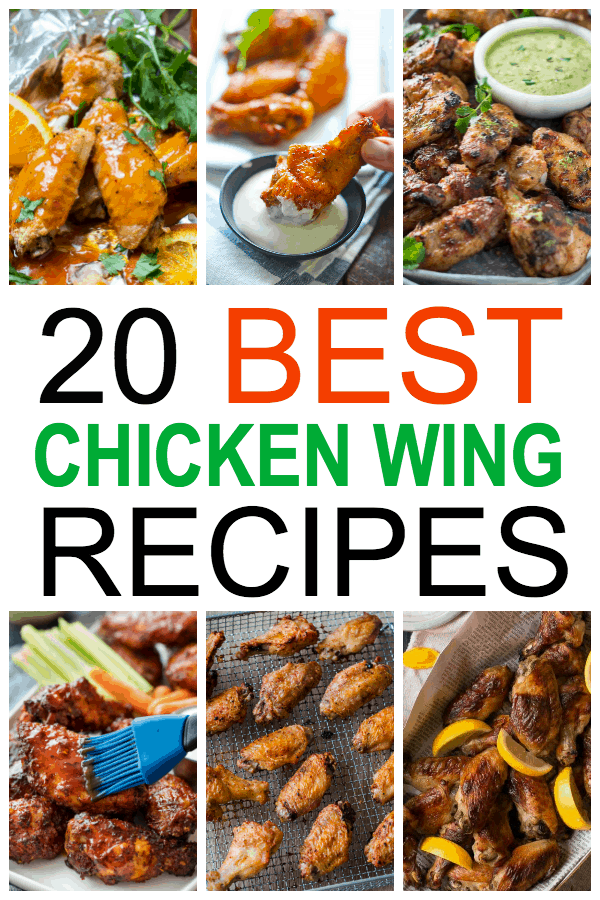 a collage of six different chicken wing dishes with title text reading 20 Best Chicken Wing Recipes