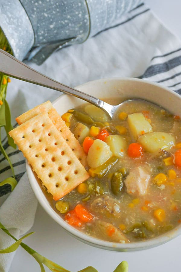 Chicken Vegetable Soup in a white bowl with crackers and a spoon in it on a white counter next to a plant