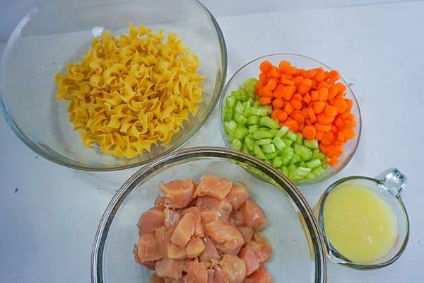 egg noodles, raw cubed chicken, diced carrots and celery, chicken broth in glass bowls on a white background