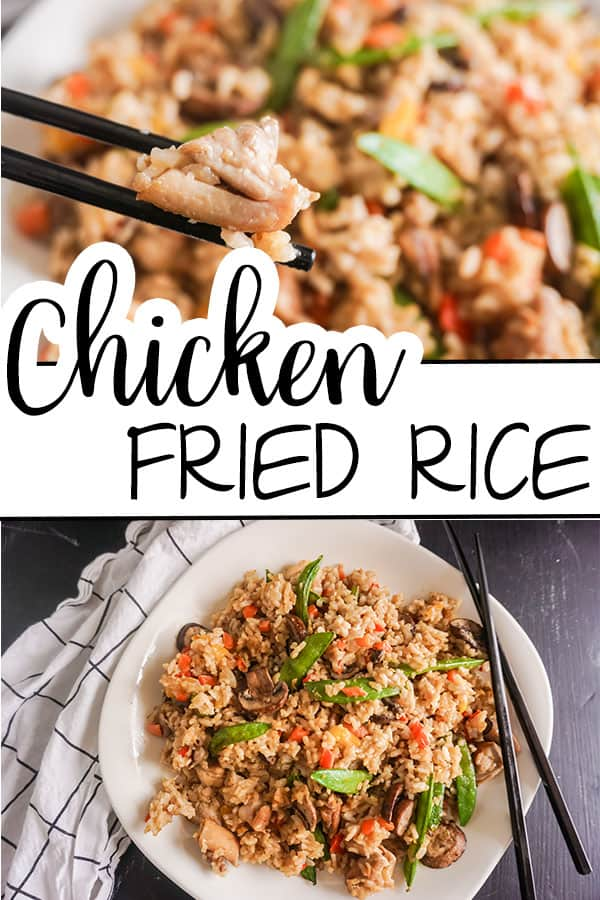 a collage of chicken fried rice on a white plate with black chopsticks on a brown table with title text reading Chicken Fried Rice