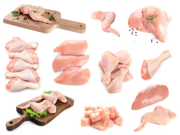 raw parts of a chicken to show the best uses for different cuts of chicken