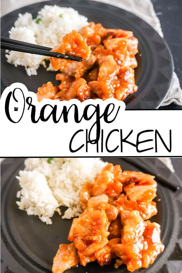 a collage of black chopsticks holding a piece of orange chicken above more orange chicken and white rice on a black plate with title text reading Orange Chicken