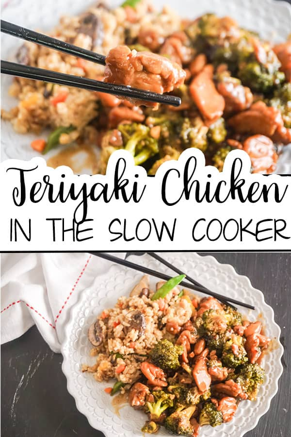 a collage of teriyaki chicken and brown rice on a white plate with black chopsticks with title text reading Teriyaki Chicken In The Slow Cooker