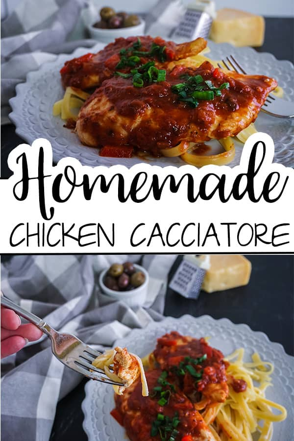 a collage of Homemade Chicken Cacciatore next to a fork on a white plate on a table next to a gray and white checkered cloth, a bowl of olives, a mini cheese grater, and a block of cheese with title text reading Homemade Chicken Cacciatore