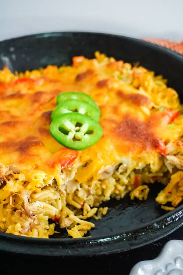 Mexican Chicken and Rice Casserole in a cast iron skillet