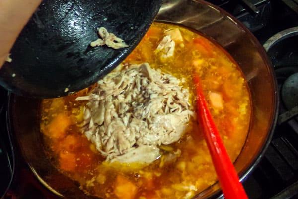 Chicken Posole soup in a pot