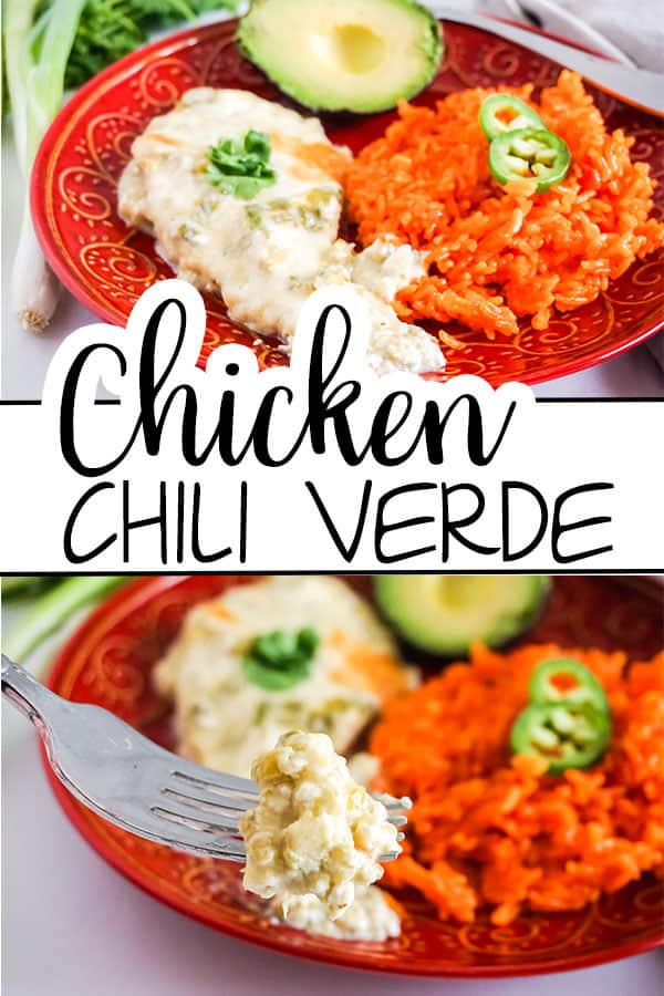 a collage of Chicken Chile Verde next to rice and an avocado on a red plate with title text reading Chicken Chile Verde